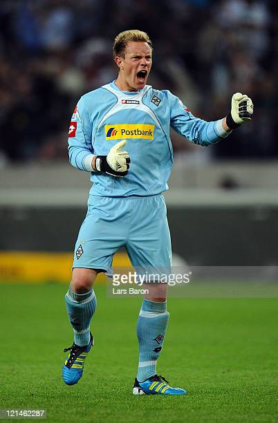 Goalkeeper Marc Andre Ter Stegen of Moenchengladbach celebrates during the Bundesliga match between Borussia Moenchengladbach and VfL Wolfsburg at...