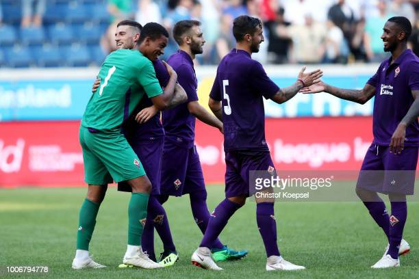 Goalkeeper Marc Lafont Alban of Florenz celebrates with his team winning 98 after penalty shootout the final match between AC Florenz and FC Fulham...