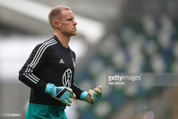 Goalkeeper MarcAndre ter Stegen looks on during a Germany training session ahead of the UEFA Euro 2020 qualifier match between Northern Ireland and...