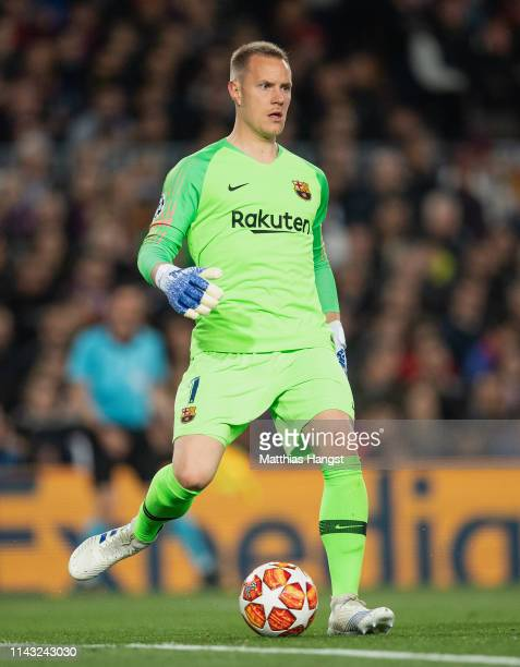 Goalkeeper MarcAndre ter Stegen of Barcelona controls the ball during the UEFA Champions League Quarter Final second leg match between FC Barcelona...