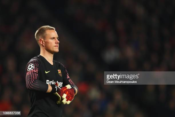 Goalkeeper MarcAndre ter Stegen of Barcelona looks on during the Group B match of the UEFA Champions League between PSV and FC Barcelona at Philips...