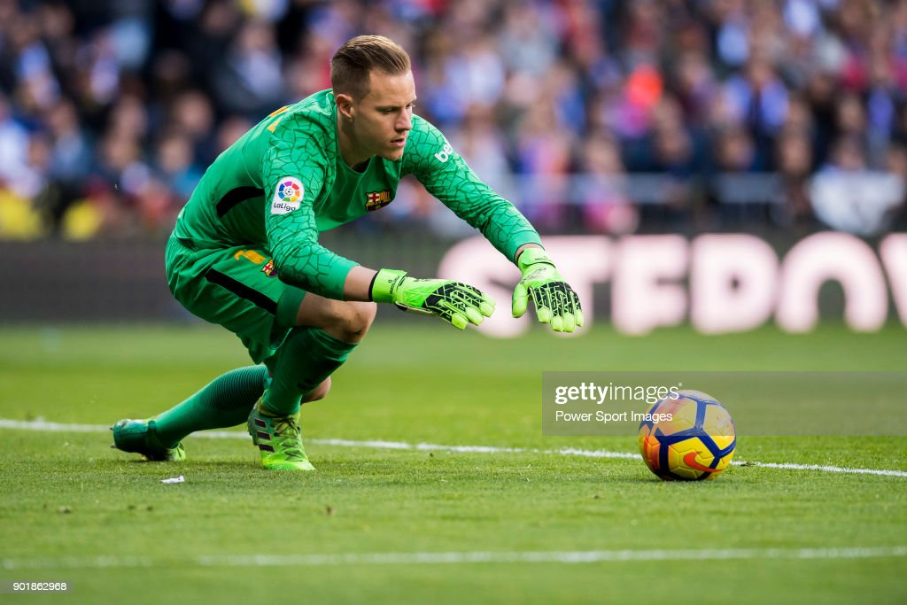 Goalkeeper Marc-Andre Ter Stegen of FC Barcelona in action during the La Liga 2017-18 match between Real Madrid and FC Barcelona at Santiago Bernabeu Stadium on December 23 2017 in Madrid, Spain.