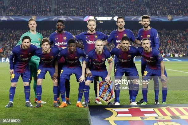 goalkeeper MarcAndre ter Stegen of FC Barcelona Samuel Umtiti of FC Barcelona Ivan Rakitic of FC Barcelona Sergio Busquets of FC Barcelona Gerard...
