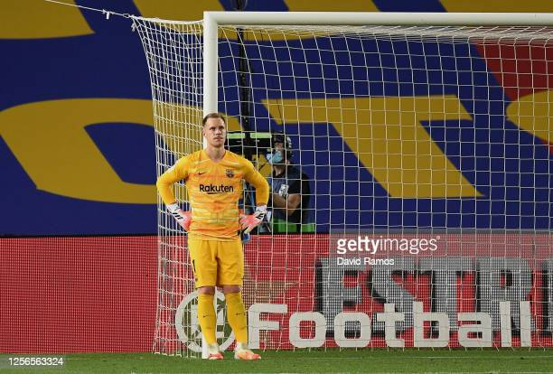 Goalkeeper Marc-Andre ter Stegen of FC Barcelona shows his disappointment after the 2nd goal during the Liga match between FC Barcelona and CA...