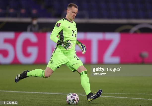 Goalkeeper Marc-Andre ter Stegen of Germany controls the ball during the FIFA World Cup 2022 Qatar qualifying match between Germany and North...