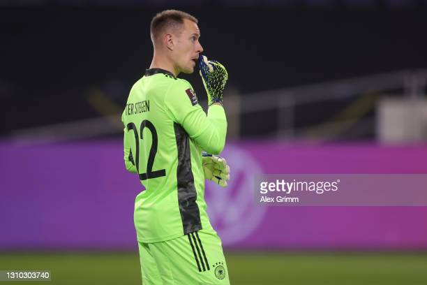 Goalkeeper Marc-Andre ter Stegen of Germany reacts during the FIFA World Cup 2022 Qatar qualifying match between Germany and North Macedonia at...