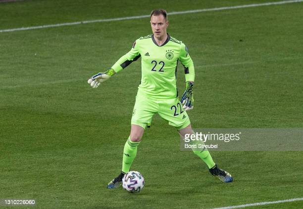 Goalkeeper Marc-Andre ter Stegen of Germany runs with the ball during the FIFA World Cup 2022 Qatar qualifying match between Germany and North...