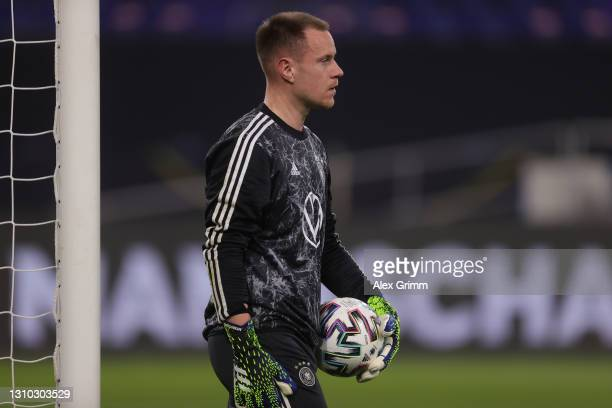 Goalkeeper Marc-Andre ter Stegen of Germany warms up for the FIFA World Cup 2022 Qatar qualifying match between Germany and North Macedonia at...