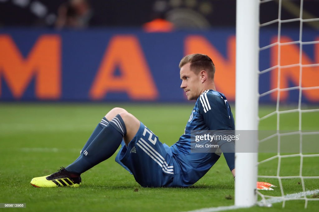 Goalkeeper Marc-Andre ter Stegen reacts after Saudi Arabia scored their first goal during the international friendly match between Germany and Saudi Arabia ahead of the FIFA World Cup Russia 2018 at BayArena on June 8, 2018 in Leverkusen, Germany.