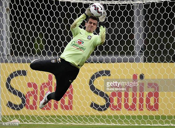 Goalkeeper Marcelo Grohe of Brazil in action during a training session at Hotel Vila Ventura on June 11 2015 in Viamao Brazil