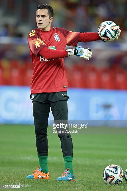 Goalkeeper Marcelo Grohe warms up before the international friendly match between Japan and Brazil at the National Stadium on October 14 2014 in...