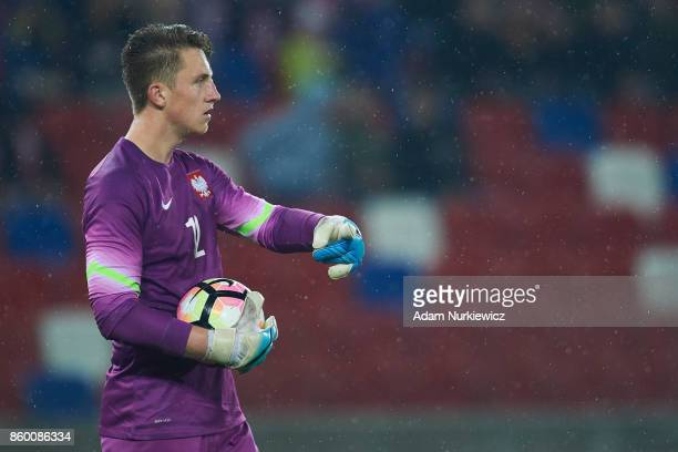 Goalkeeper Marcin Bulka of U19 Poland controls the ball during soccer match U19 Poland v U19 Germany UEFA Under19 Euro Qualifier on October 10 2017...