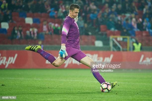 Goalkeeper Marcin Bulka of U19 Poland kicks the ball during soccer match U19 Poland v U19 Germany UEFA Under19 Euro Qualifier on October 10 2017 in...