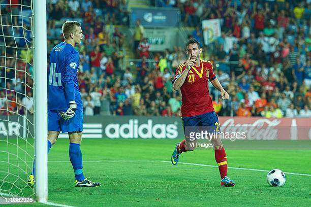 goalkeeper Marco Bizot of Holland U21 Alvaro Vazquez of Spain U21 during the UEFA U21 Championship match between Spain U21 and Netherlands U21 on...