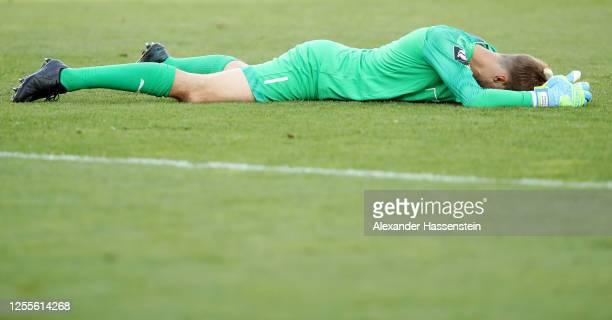 Goalkeeper Marco Knaller of Ingolstadt looks dejected after the 2. Bundesliga playoff second leg match between FC Ingolstadt and 1. FC Nürnberg at...