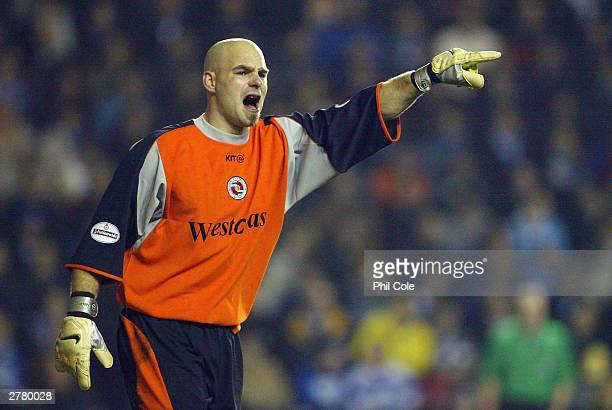 Goalkeeper Marcus Hahnemann of Reading shouts at his defence during the Carling Cup fourth round match between Reading and Chelsea at The Madejski...