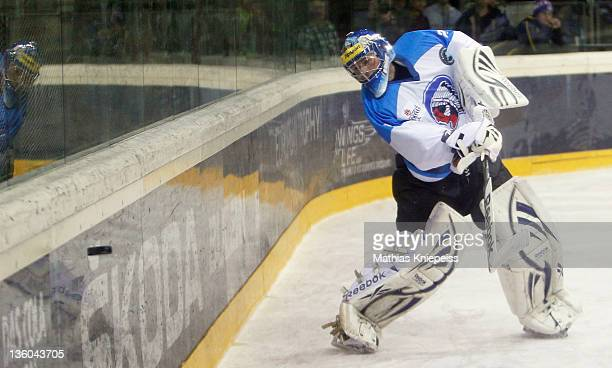 Goalkeeper Marek Mazanec of Plzen clears the danger during the Red Bulls Salute game between HC Mountfield Ceske Budejovice and HC Plzen 1929 at...
