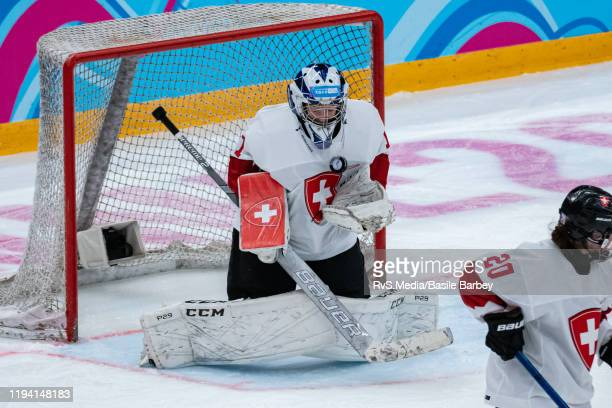 Goalkeeper Margaux Favre of Switzerland makes a save during Women's 6-Team Tournament Preliminary Round - Group B Game between Czech Republic and...
