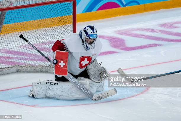 Goalkeeper Margaux Favre of Switzerland saves a shoot-out attempt during Women's 6-Team Tournament Preliminary Round - Group B Game between Czech...
