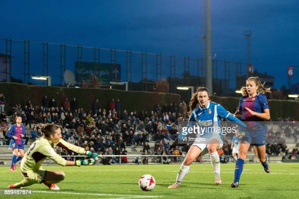 goalkeeper Maria Jose Pons of Espanyol women Berta Pajudas of Espanyol women Lieke Elisabeth Petronella Martens of FC Barcelona women during the La...