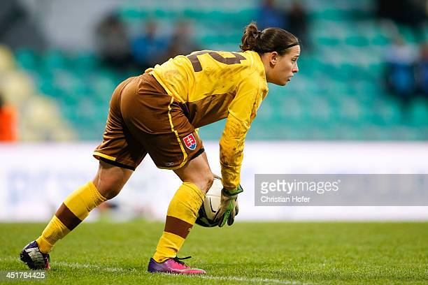 Goalkeeper Maria Korenciova of Slovakia controls the ball during the FIFA Women's World Cup 2015 Qualifier between Slovakia and Germany at Stadion...