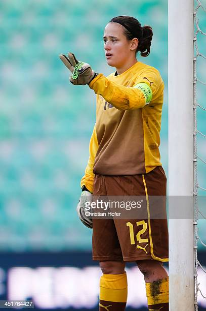 Goalkeeper Maria Korenciova of Slovakia reacts during the FIFA Women's World Cup 2015 Qualifier between Slovakia and Germany at Stadion pod Dubnom on...