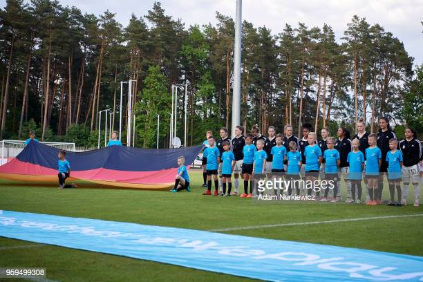 Goalkeeper Maria Luisa and Anna Aehling and Shekiera Martinez and Charlotte Bluemel and Lina Jubel and Ivana Fuso and Emilie Bernhardt and Gia Corley...