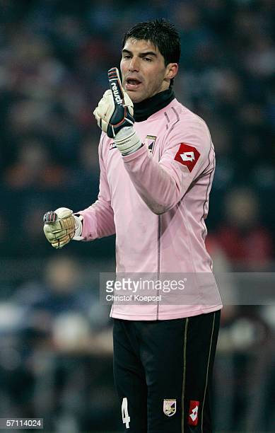 Goalkeeper Mariano Andujar of Palermo issues instructions to his defenders during the UEFA Cup Round of 16 second leg match between Schalke 04 and US...