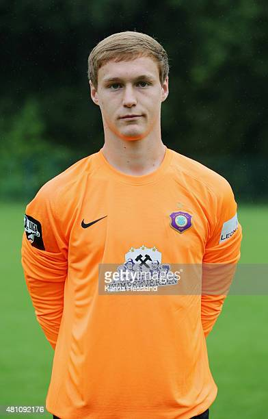 Goalkeeper Mario Seidel poses during the official team presentation of Erzgebirge Aue at ground 2 on July 14 2015 in Aue Germany