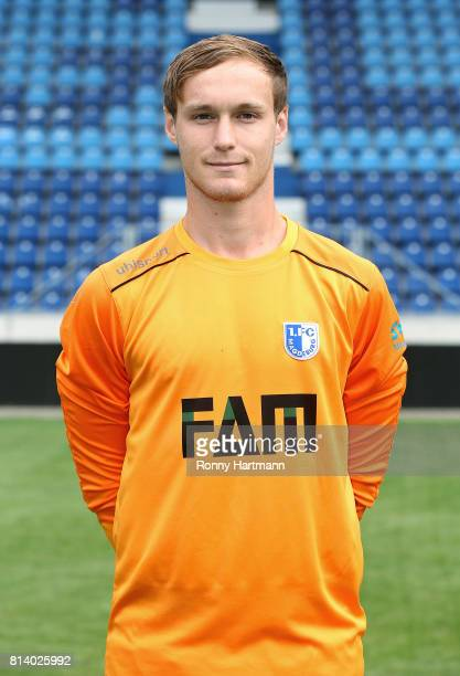 Goalkeeper Mario Seidel poses during the team presentation of 1 FC Magdeburg at MDCCArena on July 13 2017 in Magdeburg Germany