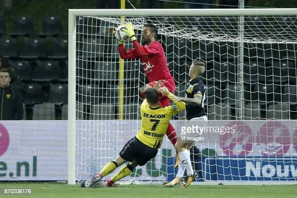 goalkeeper Mark Birighitti of NAC Breda Vito van Crooij of VVV Venlo Jose Angelino of NAC Breda during the Dutch Eredivisie match between VVV Venlo...