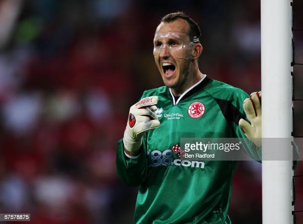 Goalkeeper Mark Schwarzer of Middlesbrough FC reacts during the UEFA Cup final between Middlesbrough FC and Sevilla FC on May 10, 2006 at the PSV...