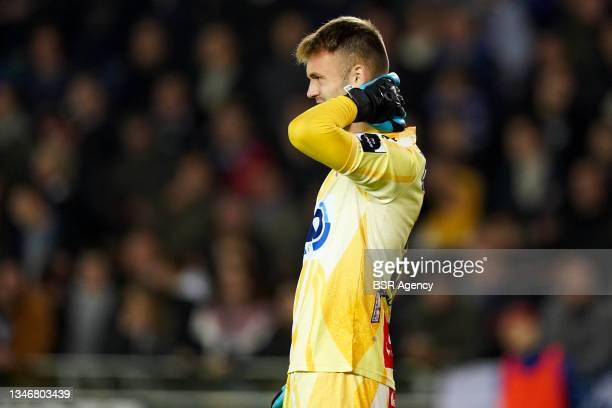 Goalkeeper Marko Ilic of KV Kortrijk during the Jupiler Pro League match between Club Brugge and KV Kortrijk at Jan Breydelstadion on October 15,...