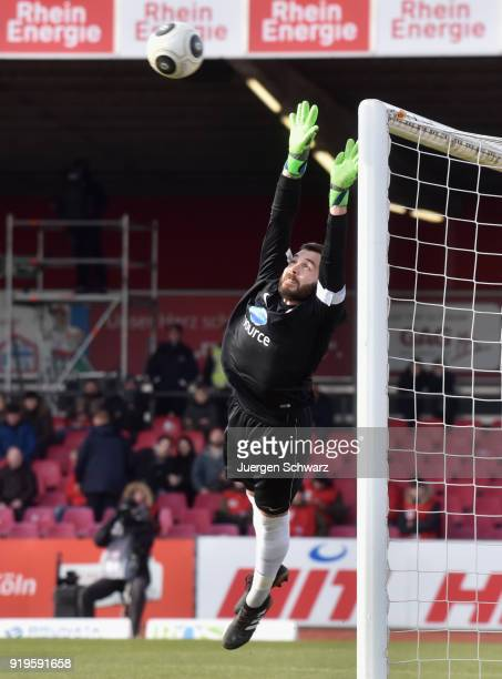 Goalkeeper Markus Kolke of Wiesbaden in action during the 3 Liga match between SC Fortuna Koeln and SV Wehen Wiesbaden at Suedstadion on February 17...