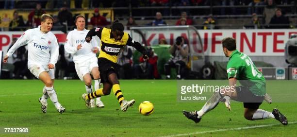 Goalkeeper Markus Proell of Frankfurt saves a shoot of Tinga of Dortmund during the Bundesliga match between Borussia Dortmund and Eintracht...