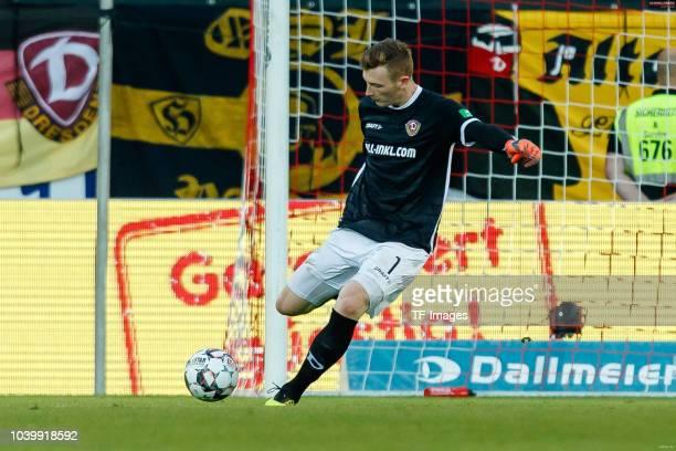 Goalkeeper Markus Schubert of Dynamo Dresden controls the ball during the Second Bundesliga match between SSV Jahn Regensburg and SG Dynamo Dresden...