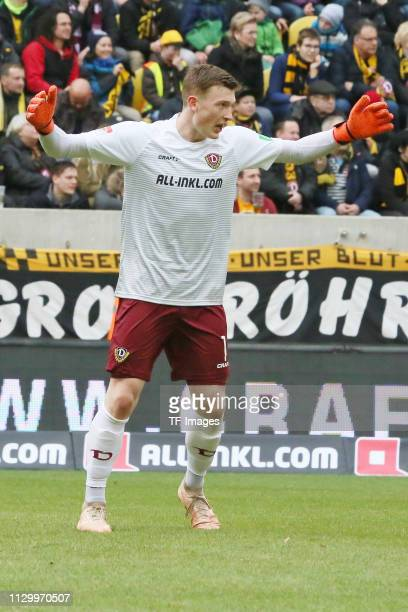 Goalkeeper Markus Schubert of Dynamo Dresden gestures during the second Bundesliga match between Dynamo Dresden and VfL Bochum 1848 at...