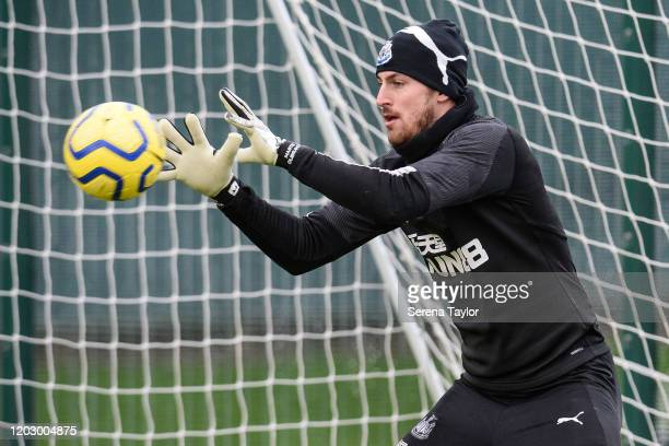 Goalkeeper Martin Dúbravka catches the ball during the Newcastle United Training Session at the Newcastle United Training Centre on January 30 2020...