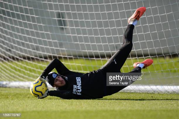 Goalkeeper Martin Dúbravka catches the ball during the Newcastle United Training Session at the Newcastle United Training Centre on February 12 2020...
