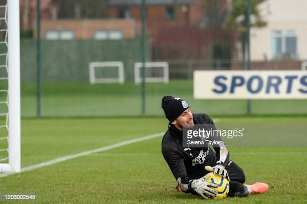 Goalkeeper Martin Dúbravka dives to save the ball during the Newcastle United Training Session at the Newcastle United Training Centre on January 30...