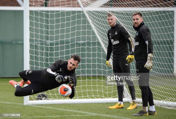 Goalkeeper Martin Dúbravka dives to save the ball during the Newcastle United Training Session at the Newcastle United Training Centre on February 19...