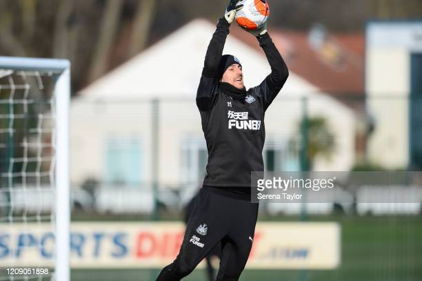 Goalkeeper Martin Dúbravka jumps to catch the ball during the Newcastle United Training Session at the Newcastle United Training Centre on February...