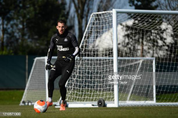 Goalkeeper Martin Dúbravka looks to kick the ball into play during the Newcastle United Training Session at the Newcastle United Training Centre on...
