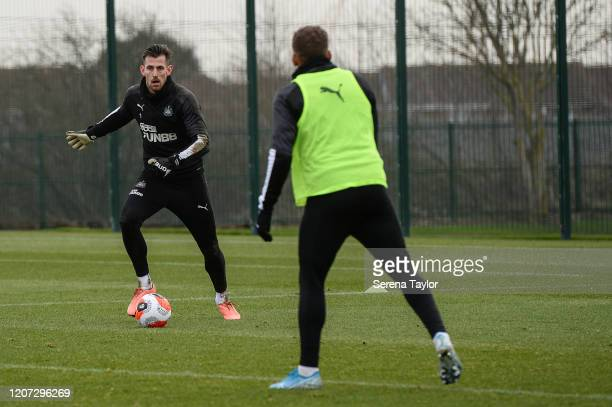 Goalkeeper Martin Dúbravka looks to play the ball during the Newcastle United Training Session at the Newcastle United Training Centre on February 19...