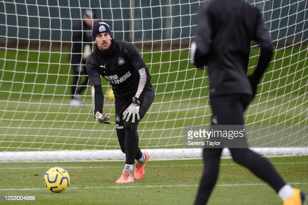 Goalkeeper Martin Dúbravka rolls the ball into play during the Newcastle United Training Session at the Newcastle United Training Centre on January...