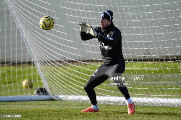 Goalkeeper Martin Dúbravka sets to catch the ball during the Newcastle United Training Session at the Newcastle United Training Centre on February 12...