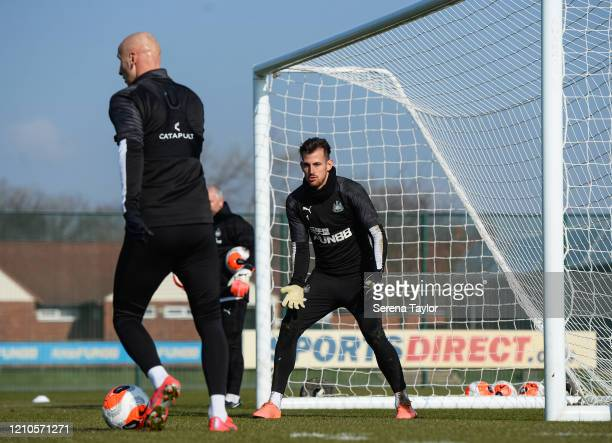 Goalkeeper Martin Dúbravka waits for a pass during the Newcastle United Training Session at the Newcastle United Training Centre on March 05 2020 in...