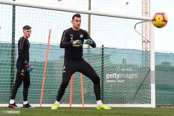 Goalkeeper Martin Dubravka catches the ball during the Newcastle United Warm Weather Training Session at La Finca Golf Resort on February 14 2019 in...