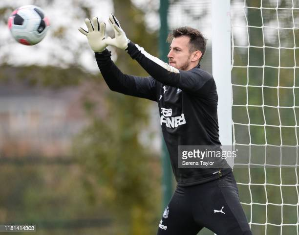 Goalkeeper Martin Dubravka catches the ball during the Newcastle United Training Session at the Newcastle United Training Centre on October 16 2019...