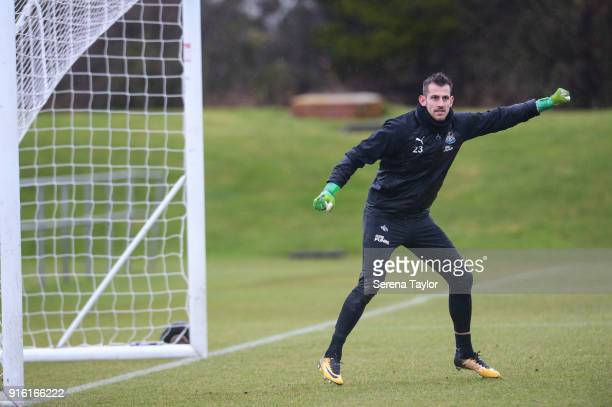 Goalkeeper Martin Dubravka catches the ball during the Newcastle United Training session at The Newcastle United Training Centre on February 9 in...
